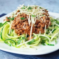 spaghetti with zucchini noodles on a plate