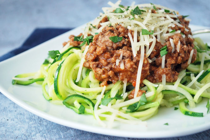 Zucchini spaghetti is best with this simple and delicious beef bolognese sauce