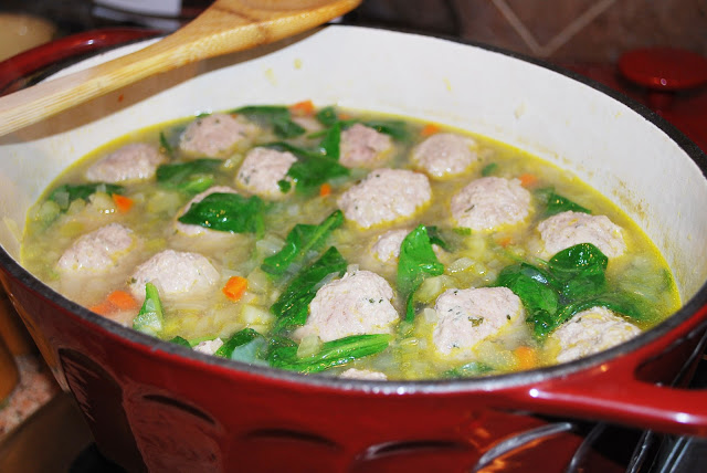 Paleo meatball soup cooking