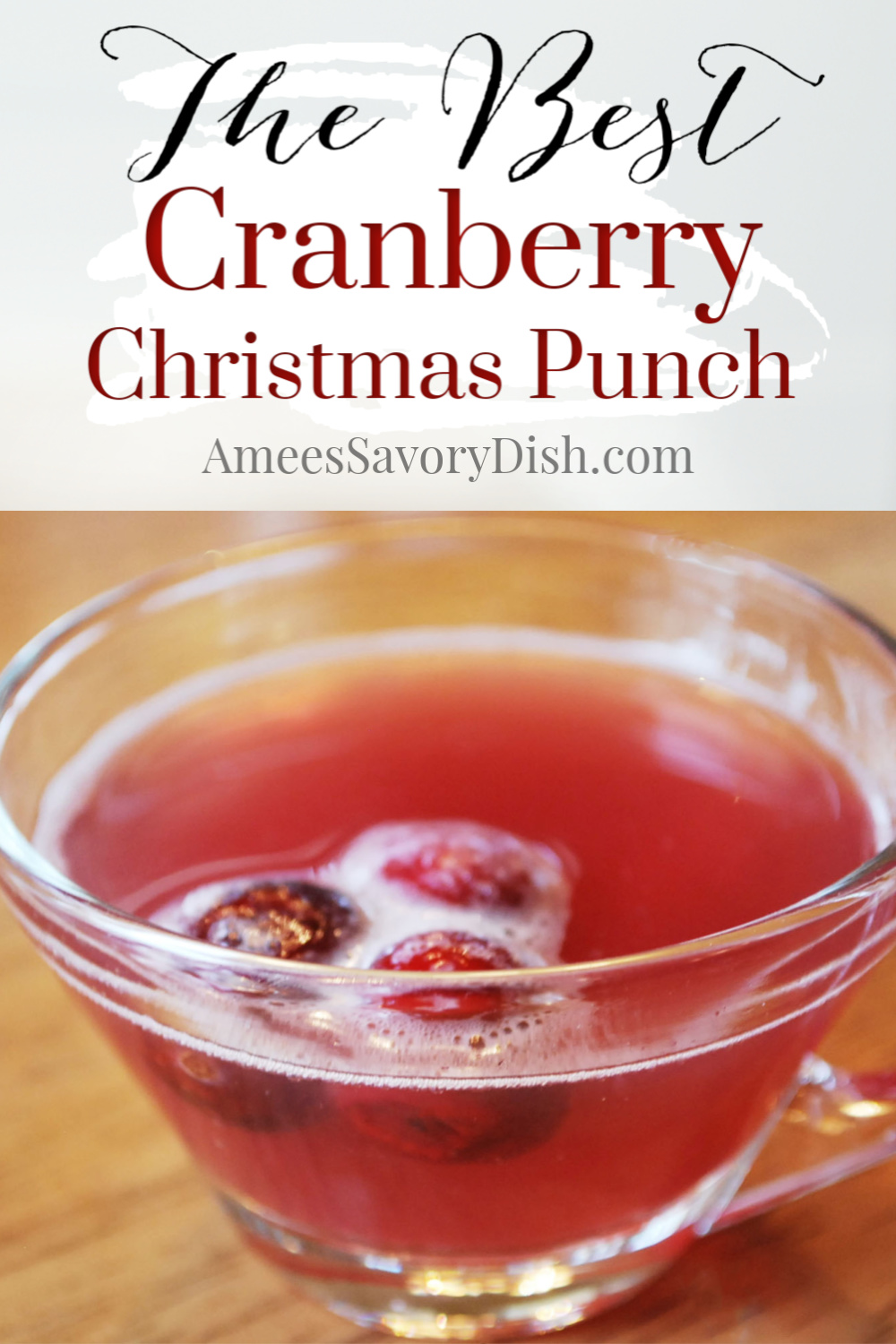 This is the absolute best Christmas punch recipe made with light cranberry juice, ginger ale, unsweetened pineapple juice, and almond extract.  I always get requests for this lightened-up punch recipe at holiday parties. via @Ameessavorydish