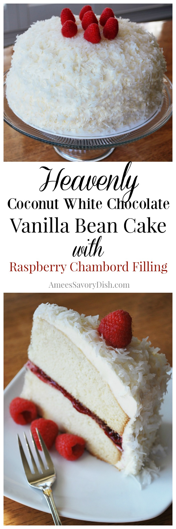 vanilla bean cake with raspberry chambord filling and coconut frosting