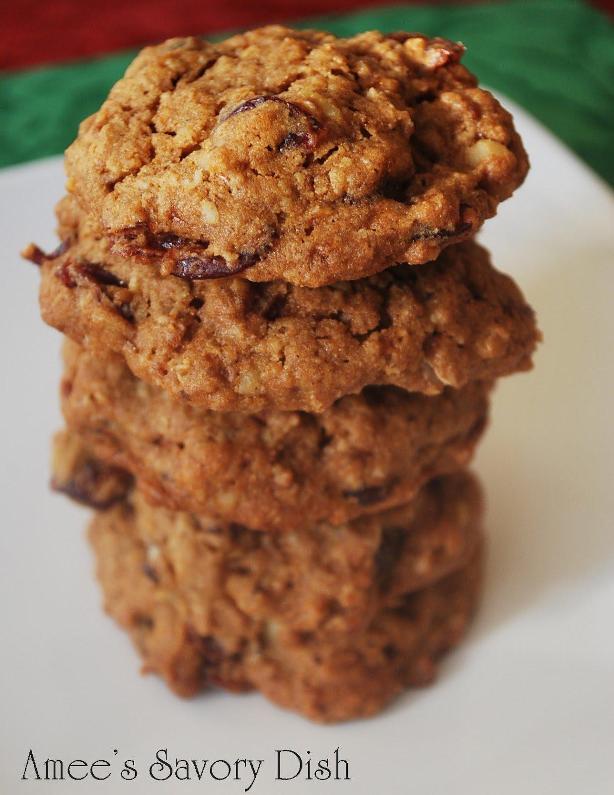 Cranberry Walnut Oatmeal Cookies- Amee\'s Savory Dish