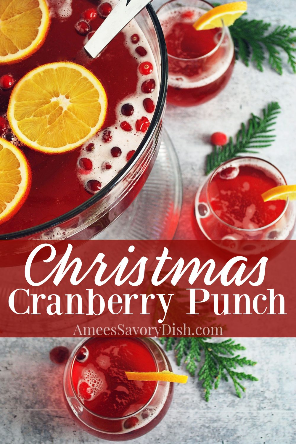 This is the absolute best Christmas punch recipe made with light cranberry juice, ginger ale, unsweetened pineapple juice, and almond extract. I always get requests for this lightened-up punch recipe at holiday parties. #christmaspunch #cranberrypunch #holidaypunch #punchrecipe via @Ameessavorydish