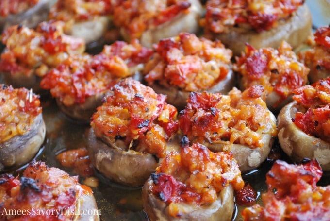 Italian Sausage and Sundried Tomato Stuffed Mushrooms recipe