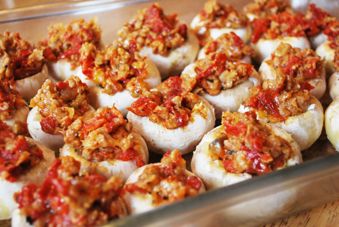 Gluten-Free sausage stuffed mushrooms with sundried tomatoes recipe