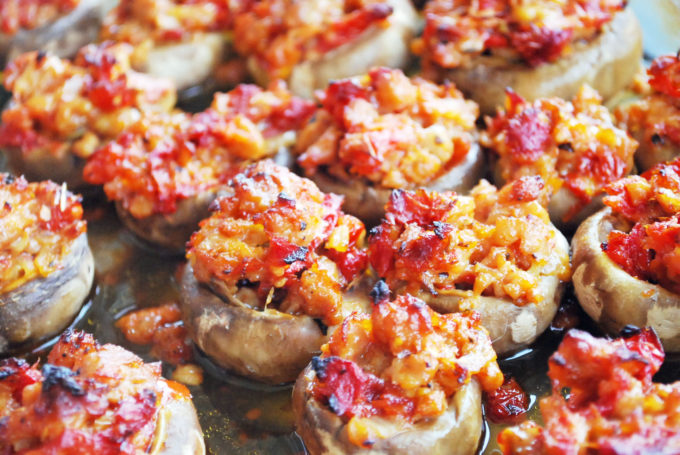 Gluten-Free sausage stuffed mushrooms with sundried tomatoes