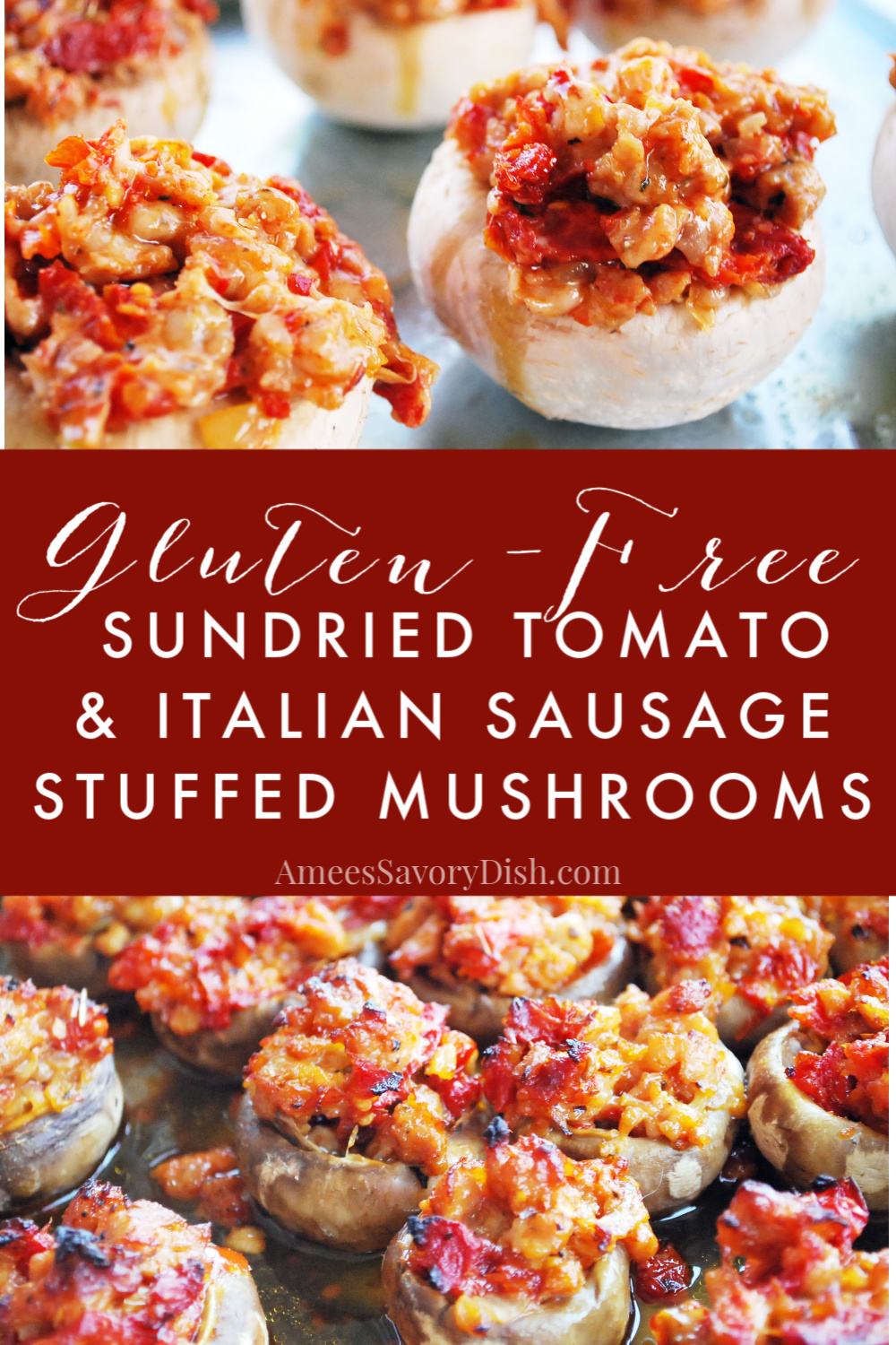 A delicious gluten-free recipe for sausage stuffed mushrooms made with sweet Italian sausage, sundried tomatoes, onions, Parmesan cheese, and fresh herbs.   via @Ameessavorydish