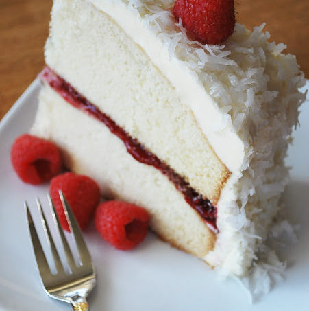 Moist Vanilla Bean Cake w/Raspberry Chambord Filling & Coconut White Chocolate Buttercream