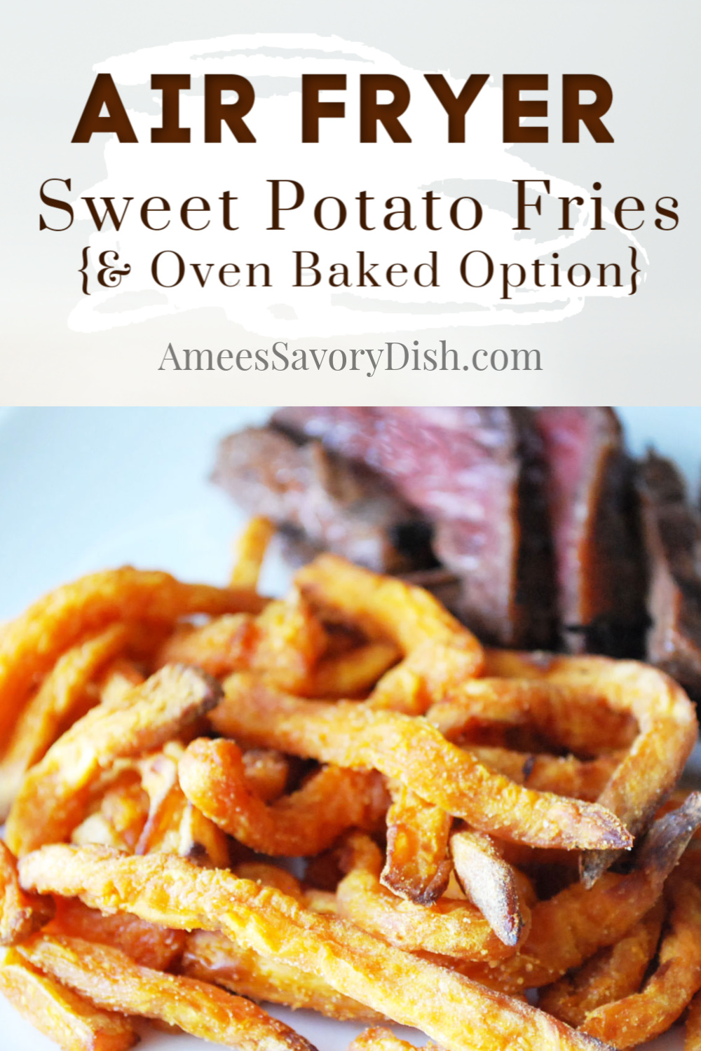 A healthier recipe for making sweet potato fries using less oil in an air fryer. The result is a tender, yet crispy lightened-up french fry. via @Ameecooks