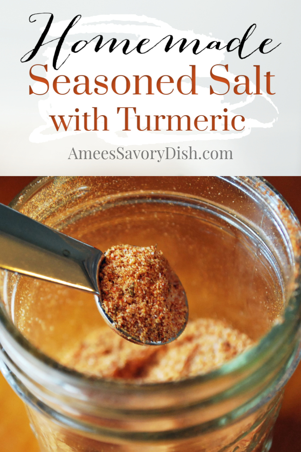 This Homemade Seasoned Salt is a tasty all-purpose blend made with turmeric, onion powder, garlic powder, salt, paprika and other herbs and spices that you probably already have on hand in your pantry.    via @Ameecooks