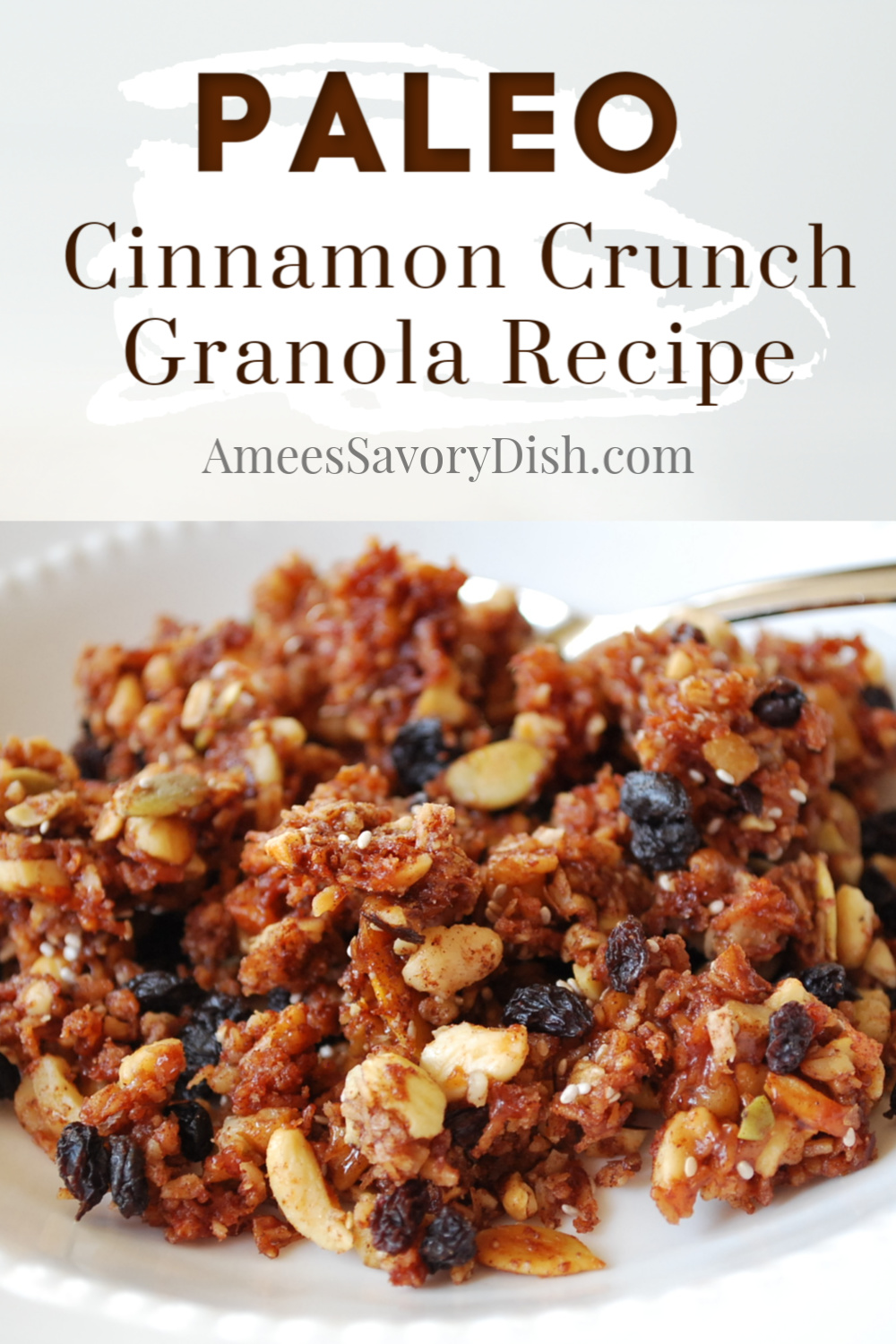 A delicious recipe for grain-free Paleo granola made with nuts, seeds, unsweetened coconut, honey, and dried fruit. Perfect for snacking or a hearty breakfast meal. via @Ameessavorydish