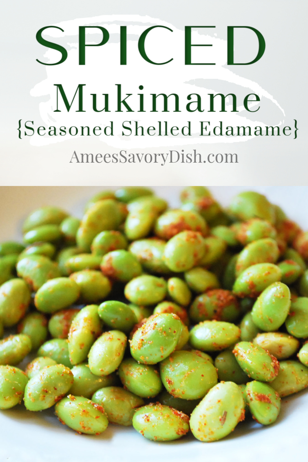 A recipe for spiced mukimame (seasoned shelled edamame) made with homemade seasoned salt and steamed frozen mukimame.  An easy and nutritious appetizer or snack! via @Ameecooks