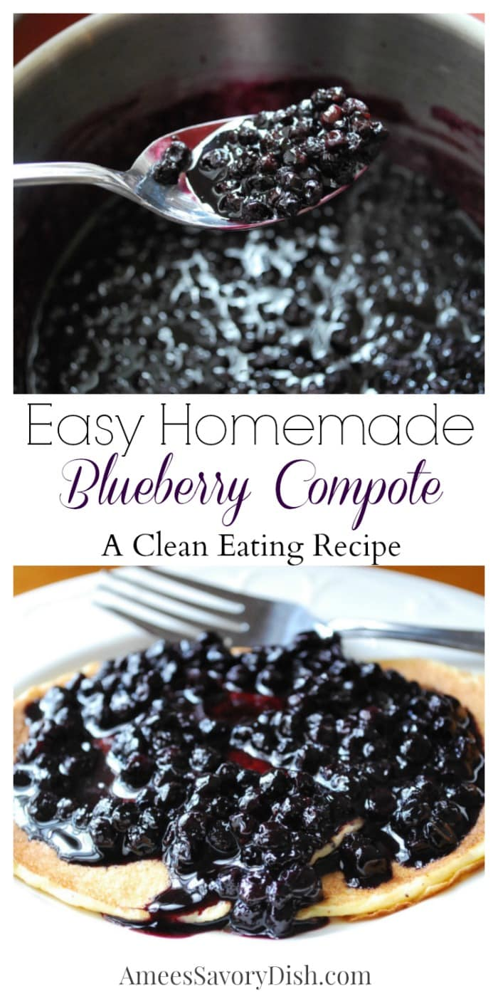 A clean-eating recipe for easy homemade blueberry compote made with frozen wild blueberries, coconut sugar, maple syrup, vanilla extract, and freshly squeezed lemon juice. This compote is the perfect accompaniment to oatmeal, pancakes, french toast or waffles! via @Ameessavorydish
