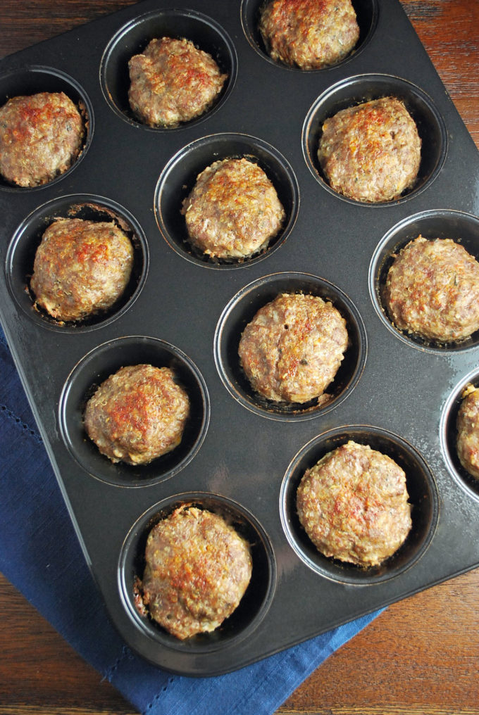 Mini Grassfed Beef & Quinoa Meatloaves in a muffin tin