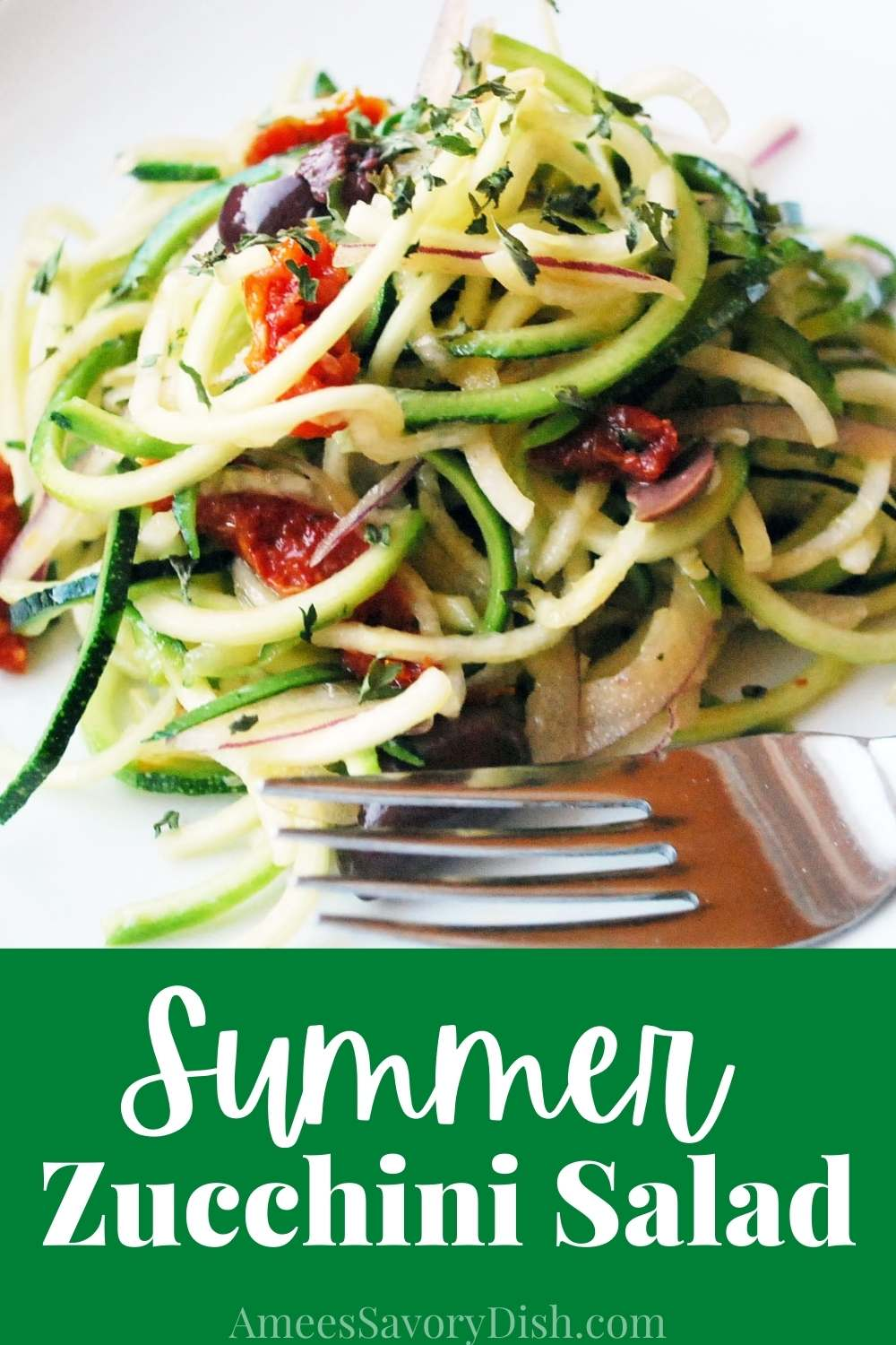 This Summer Zucchini Salad brings together zucchini spirals, olives, sun-dried tomatoes, and vibrant citrus dressing to make a quick and easy cold summer side dish. via @Ameessavorydish