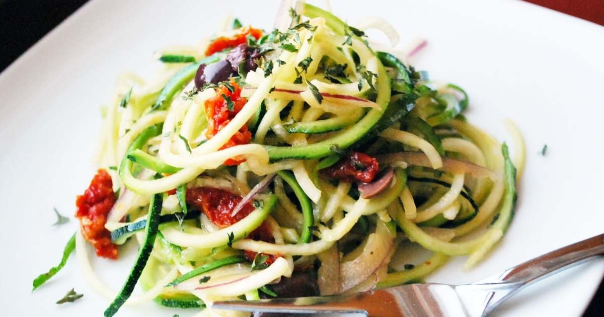 close up of zucchini salad on a plate