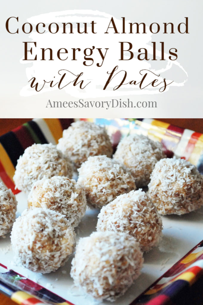 Coconut energy balls on a plate