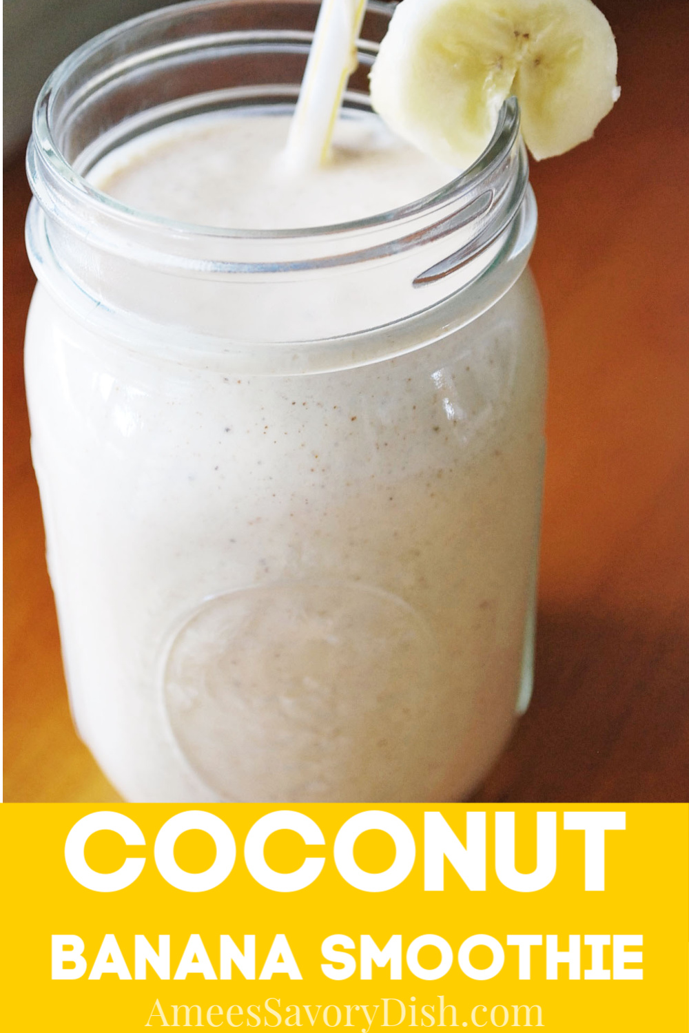 This coconut banana smoothie made with coconut cream, almond butter, almond milk, and frozen banana is the perfect breakfast on the go. via @Ameessavorydish