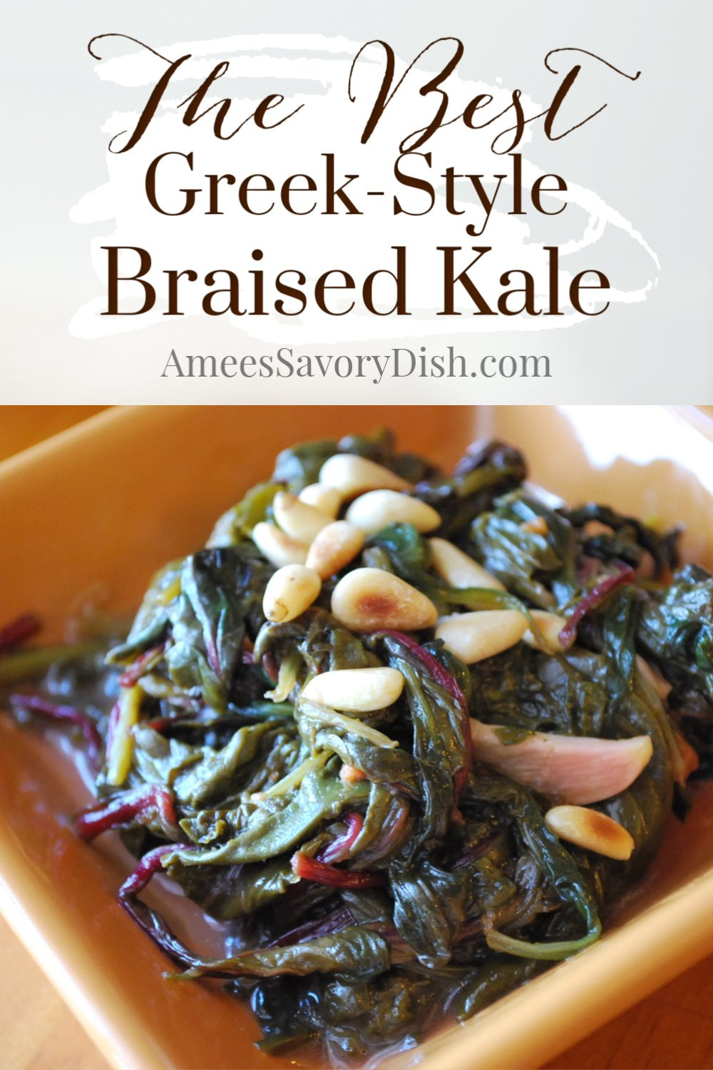 A nutritious recipe for Greek-style braised kale made with fresh lemon juice, pine nuts, chicken broth, and garlic. This Mediterranean kale side dish is easy and delicious! #kalerecipe #mediterraneansidedish #greekfood via @Ameessavorydish