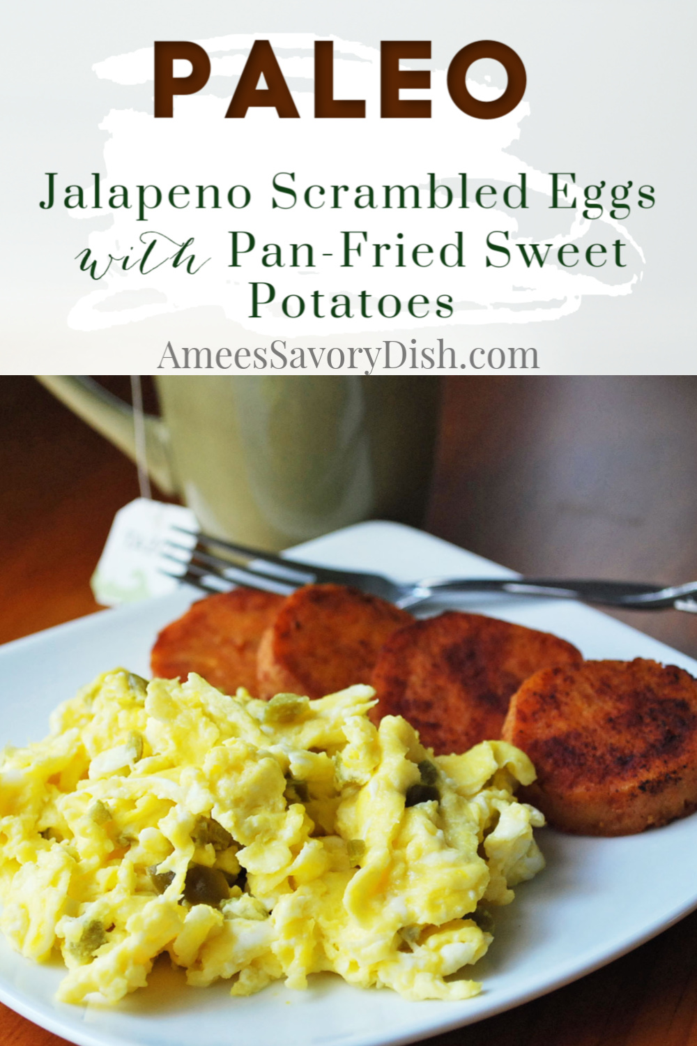 Jalapeno scrambled eggs have a nice kick of spice to jump-start your day! Serve with pan-fried sweet potatoes sprinkled with cinnamon for healthy carbohydrates to keep you fueled for hours! via @Ameessavorydish
