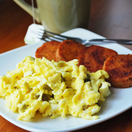 Pan-Fried Sweet Potatoes with spicy scrambled eggs