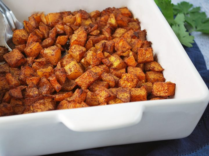 roasted butternut squash ready to serve