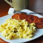 Jalapeno Scrambled Eggs with Pan Fried Cinnamon Sweet Potatoes