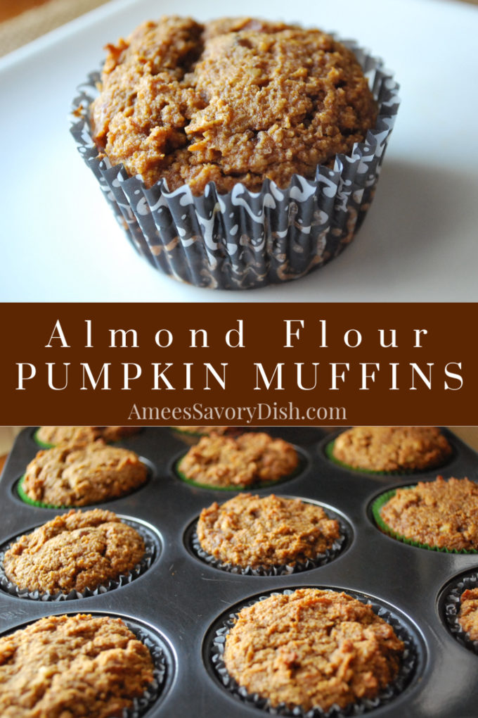 A scrumptious gluten-free recipe for almond flour pumpkin muffins using grain-free flours, dates and nuts from Amee's Savory Dish.