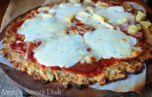 Hawaiian pizza on a cauliflower crust