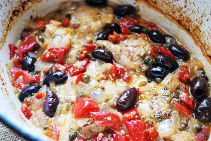 Greek chicken stew in the dutch oven