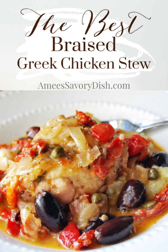A mouthwatering recipe for braised Greek chicken stew made with fresh garlic, olives, tomatoes, roasted peppers, capers, and Mediterranean spices.