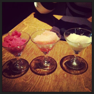 sorbet sampler from Robert Irvine's restaurant, EAT