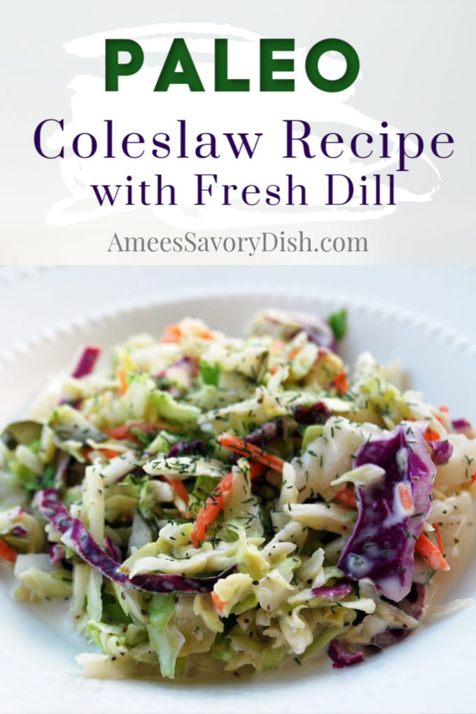 A Paleo-friendly recipe for coleslaw that's loaded with flavor made with olive oil mayonnaise, vinegar, celery, herbs, and spices.
