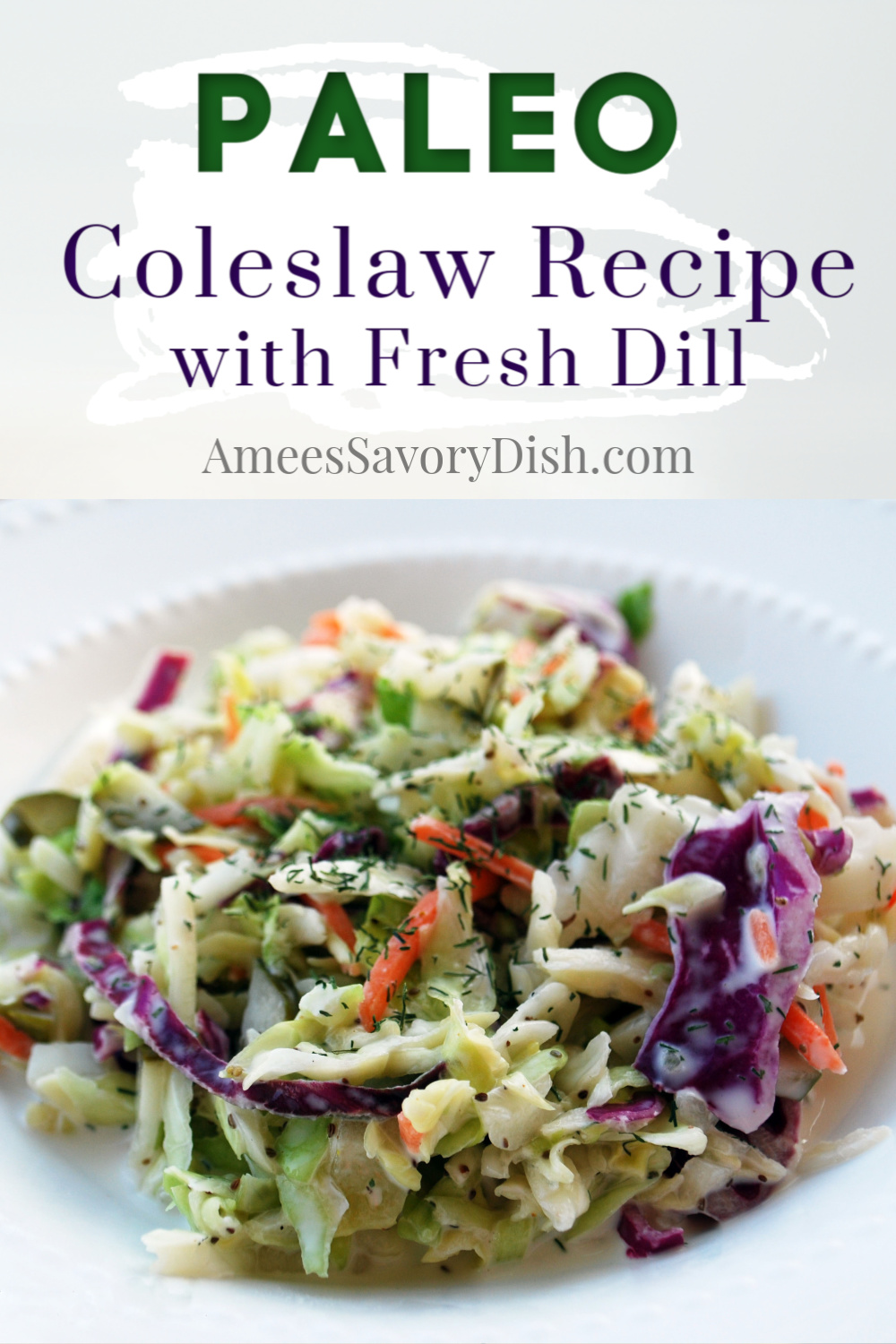 A Paleo-friendly recipe for coleslaw that's loaded with flavor made with olive oil mayonnaise, vinegar, celery, herbs, and spices. #coleslaw #paleocoleslaw #paleosidedish via @Ameessavorydish
