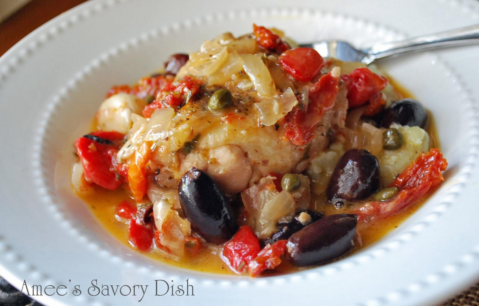 Greek Chicken Stew over Cauliflower Rice- Amee's Savory Dish