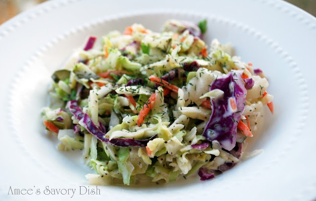 Paleo coleslaw is just as delicious as traditional mayo-based coleslaw, but it uses homemade paleo-friendly mayonnaise. This paleo coleslaw recipe is loaded with flavor, too!