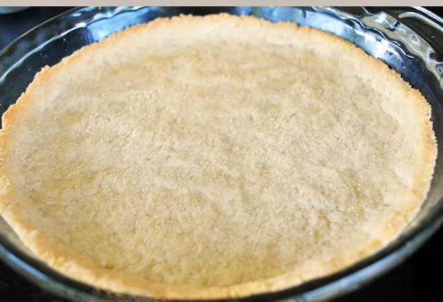 Almond Flour crust fresh from the oven ready for filling