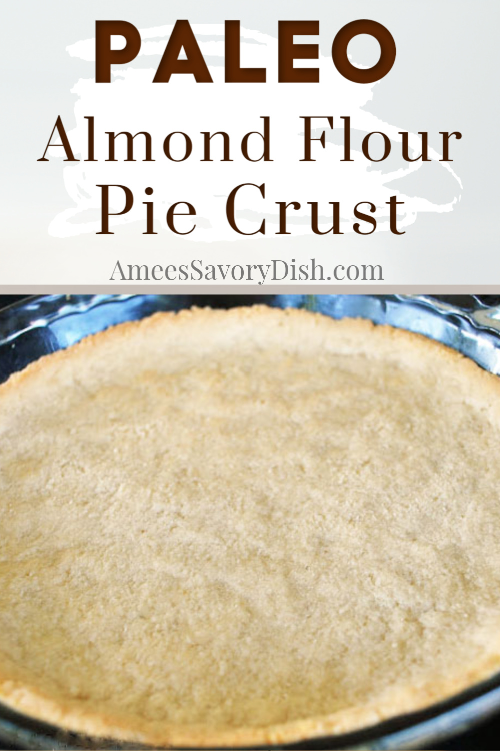 This easy almond flour pie crust is a grain-free pie crust to use for your favorite pie recipes.   This paleo diet-friendly pie crust recipe uses a combination of almond flour and unsweetened coconut and tastes delicious! #grainfreecrust #paleopiecrust #almondflourpiecrust via @Ameessavorydish