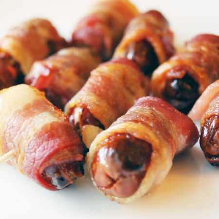 Bacon-wrapped stuffed dates recipe