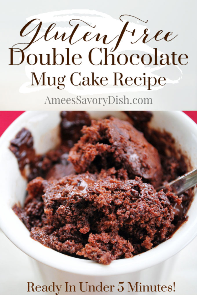 Double chocolate gluten-free mug cake is a quick and easy microwaveable dessert. This simple mug cake recipe is a decadent dessert that comes together in less than 5 minutes!