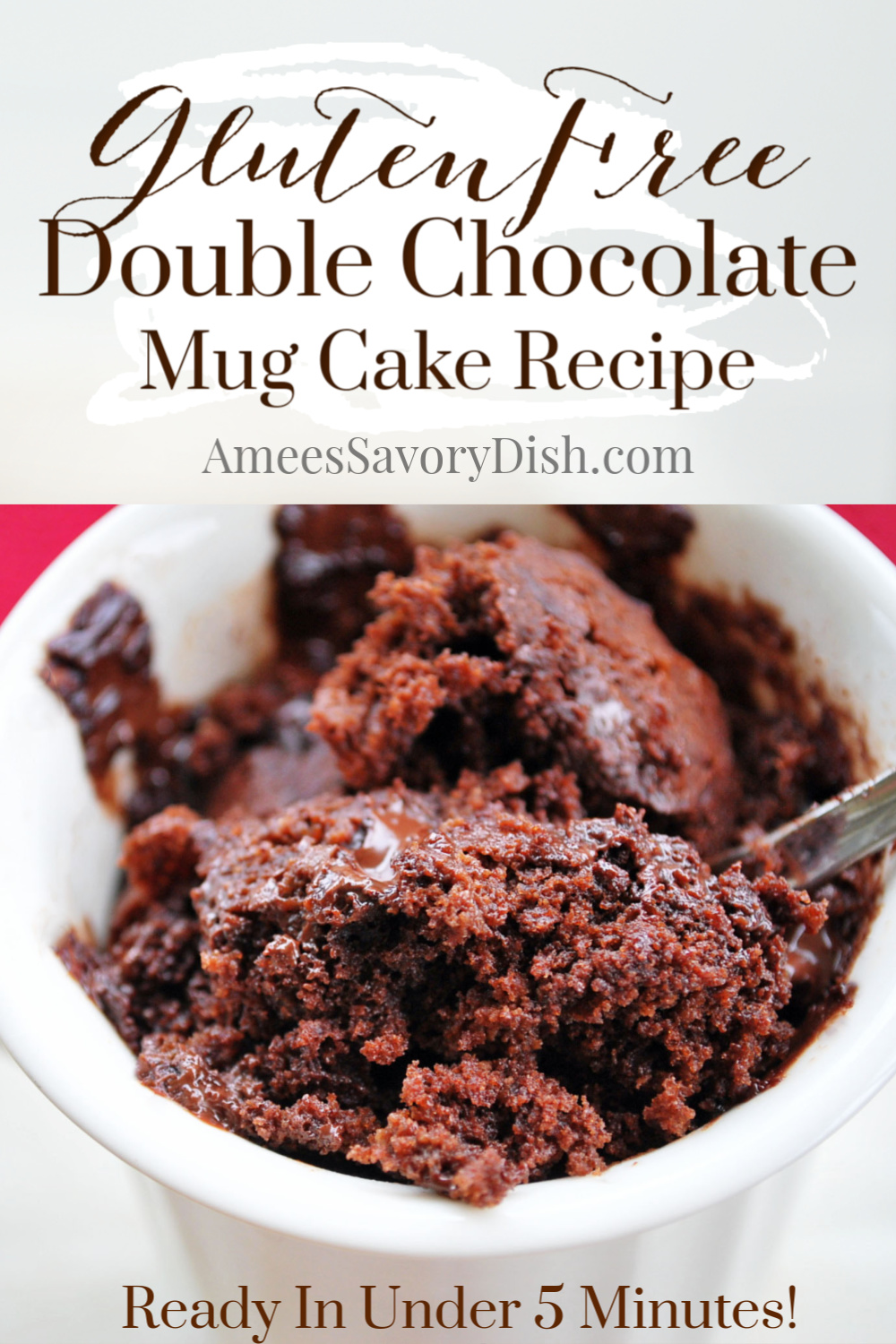 Double chocolate gluten-free mug cake is a quick and easy microwaveable dessert. This simple mug cake recipe is a decadent dessert that comes together in less than 5 minutes! #mugcake #glutenfreemugcake #glutenfreecake #chocolatemugcake via @Ameessavorydish