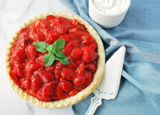 This no sugar added fresh strawberry pie is the perfect no bake pie for summertime.