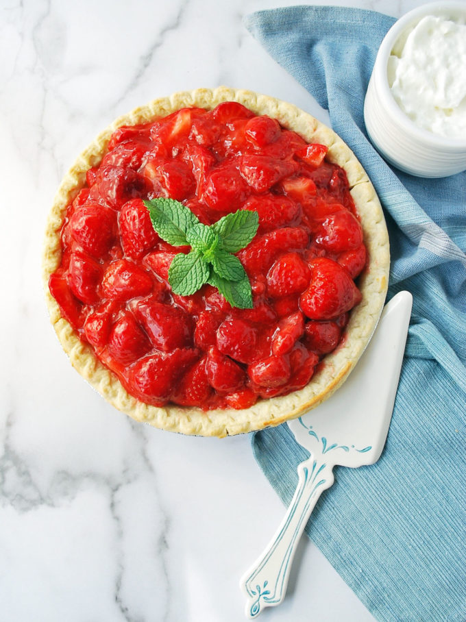 Best Ever No Sugar Added Fresh Strawberry Pie made with fresh orange zest and Whole Earth sweetener