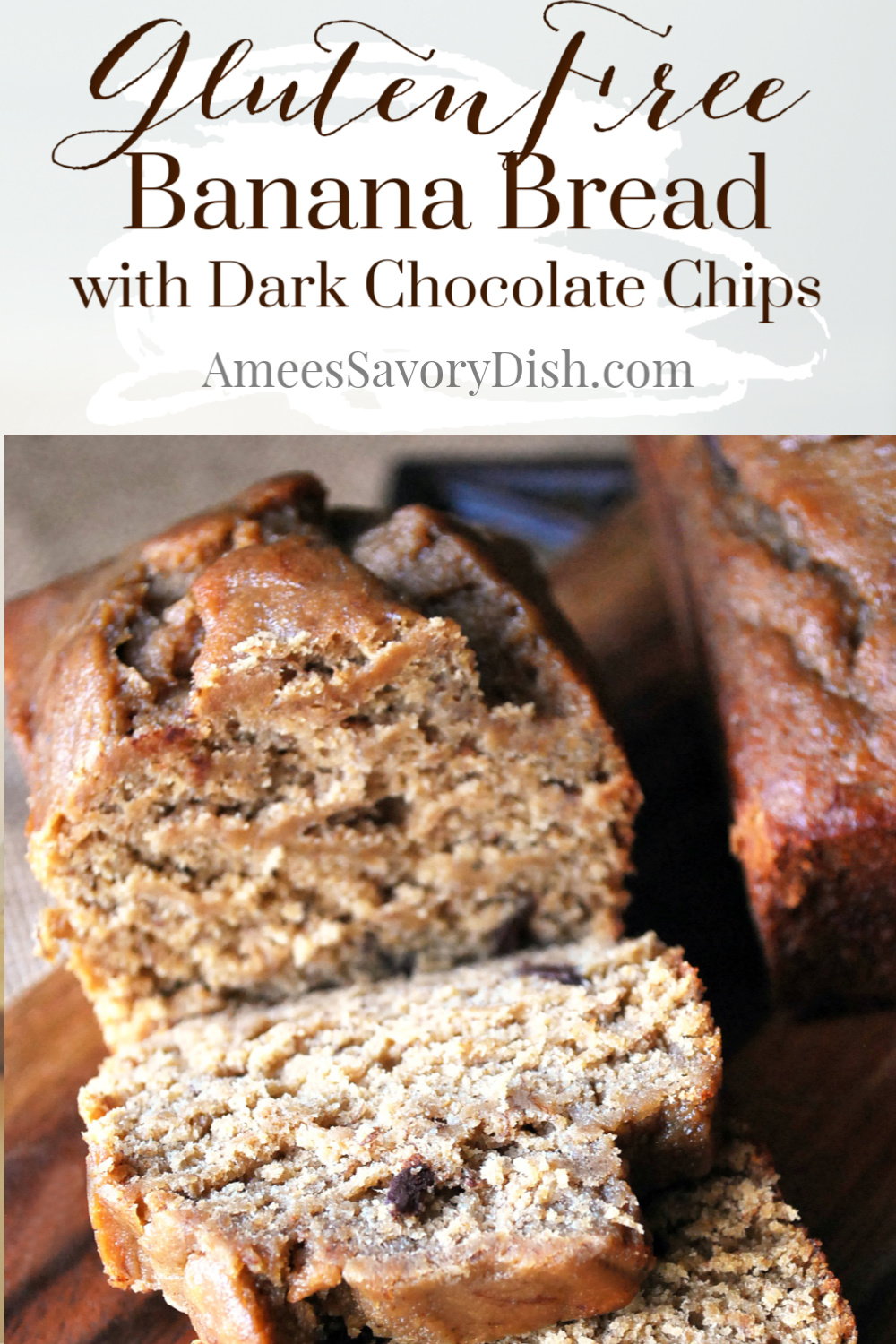 A moist and delicious recipe for wheat-free dark chocolate chip banana bread made with a blend of brown rice and oat flour that's just as amazing as the original. #glutenfreebaking #glutenfreebananabread #bananabread via @Ameecooks