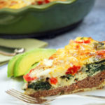 Meat crust cheeseburger quiche is a simple gluten-free, grain-free recipe made with lean ground beef, light sharp cheddar cheese, baby spinach and tomatoes.
