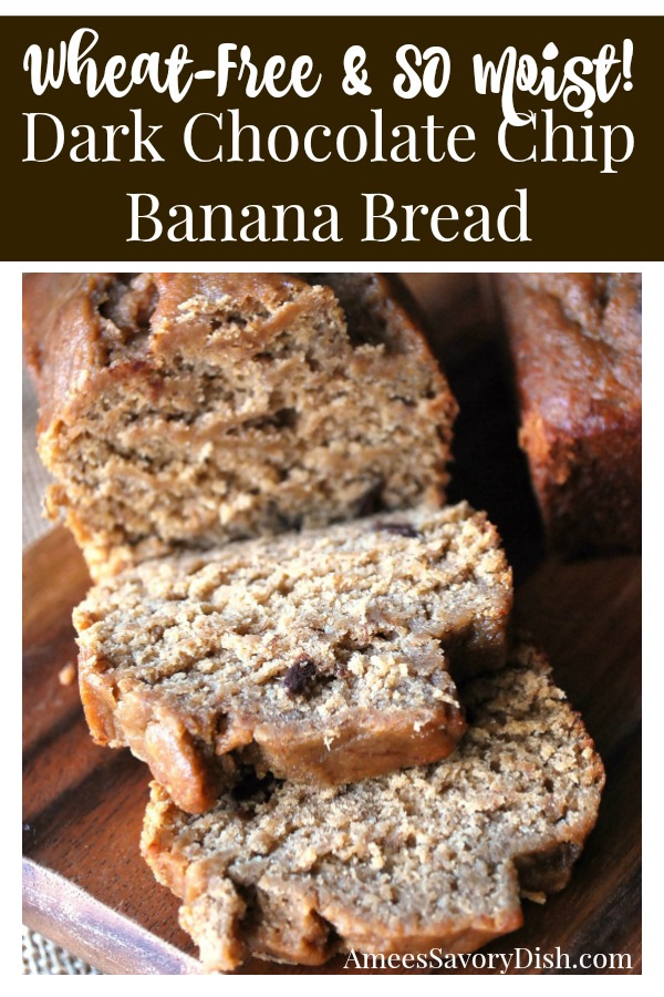 A moist and delicious recipe for wheat-free dark chocolate chip banana bread made with a blend of brown rice and oat flour that's just as amazing as the original.