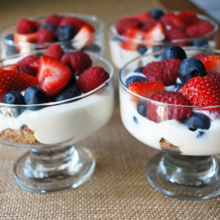 Greek yogurt parfaits with fresh berries and Clif Crunch bars creates a fruit parfait that is as delicious as it is healthy!
