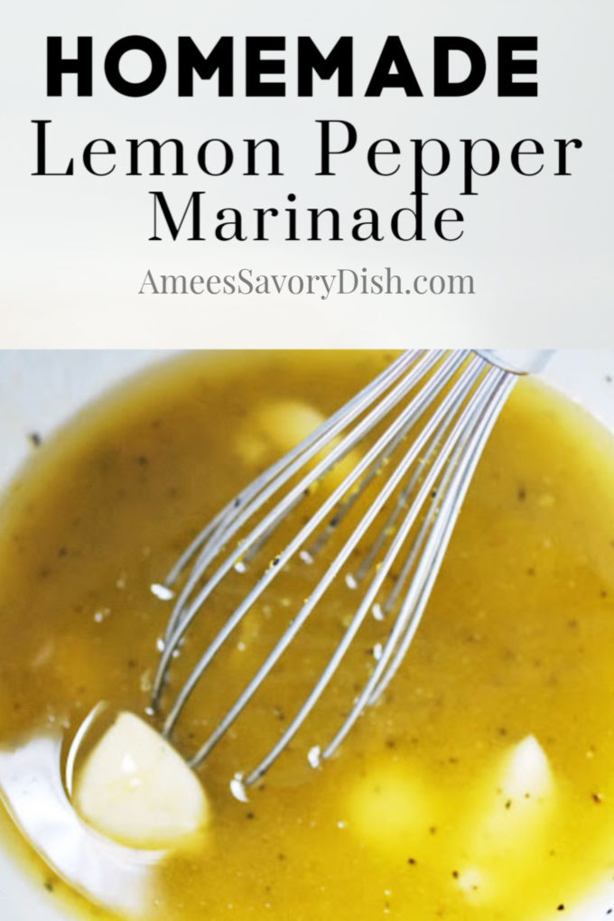 Lemon pepper marinade in a large white bowl