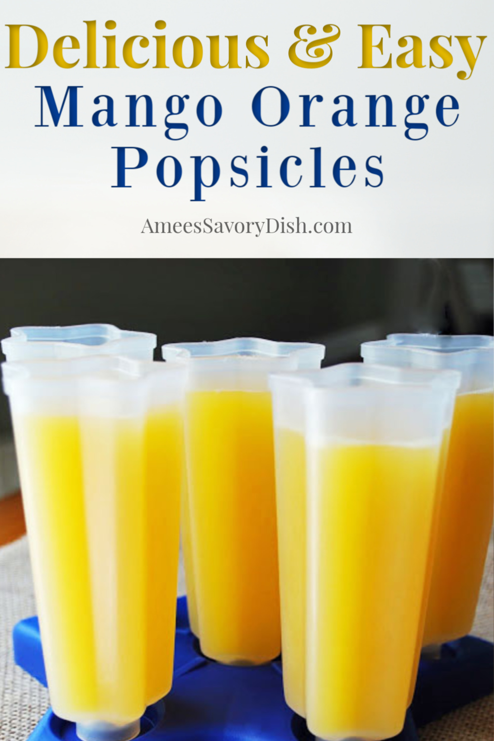 Easy mango orange popsicles are so refreshing and really simple to make. They're a great summer frozen treat and this easy popsicle recipe is healthier because there are no added sweeteners! #orangepopsicles #homemadepopsicles #frozenfruitpops via @Ameecooks