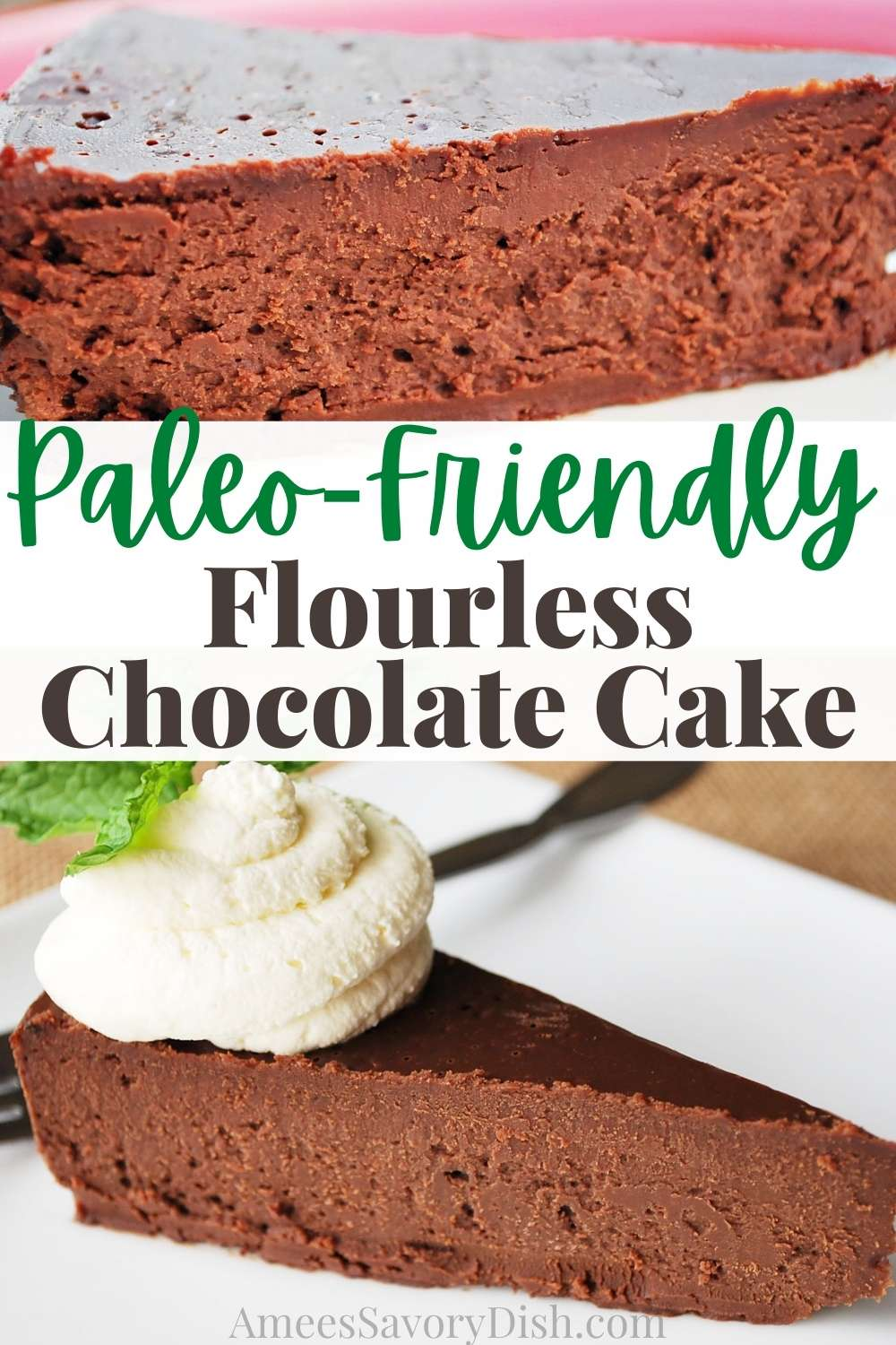 This Paleo Flourless Chocolate Cake recipe makes a rich and fudgy chocolate cake with healthy gluten-free and dairy-free ingredients. This cake is the perfect decadent dessert to satisfy your sweet tooth! via @Ameessavorydish